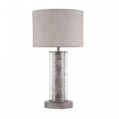 lampa stołowa z dekoracyjną podstawą z metalu zamkniętą w szklanej tubie
