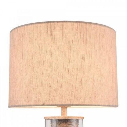 lampa stołowa z materiałowym, okrągłym abażurem