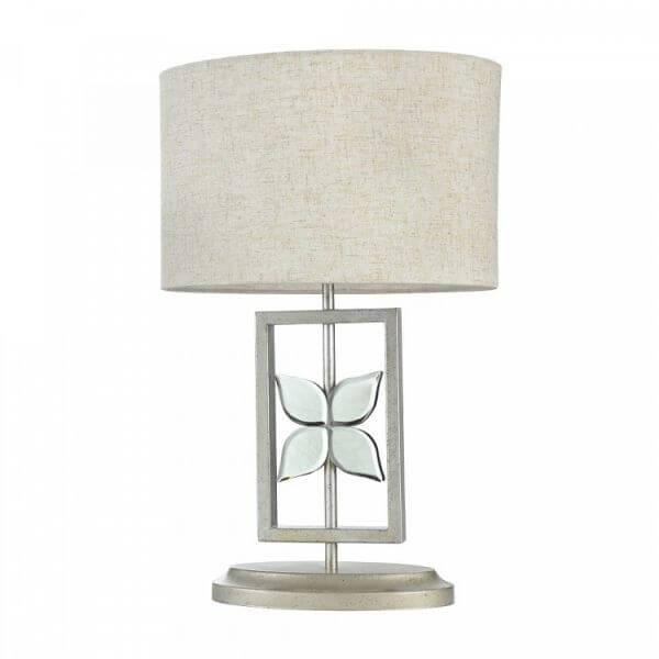 lampa stołowa z beżowym abażurem i ażurową podstawą ze szklanym kwiatkiem