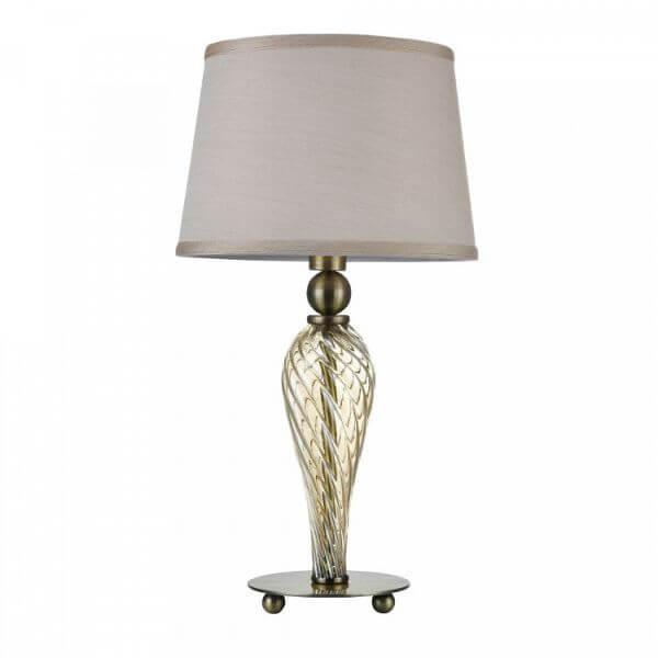szampańska lampa stołowa z beżowym abażurem