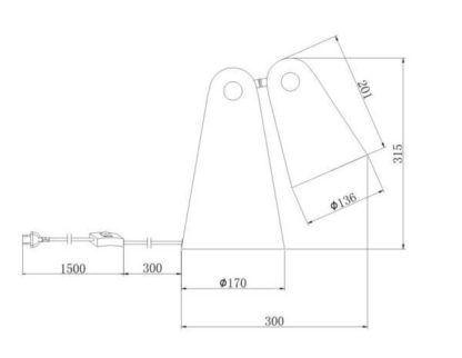 szara lampa biurkowa z mobilnym kloszem