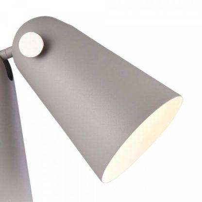 szara lampa biurkowa z designerskim kloszem