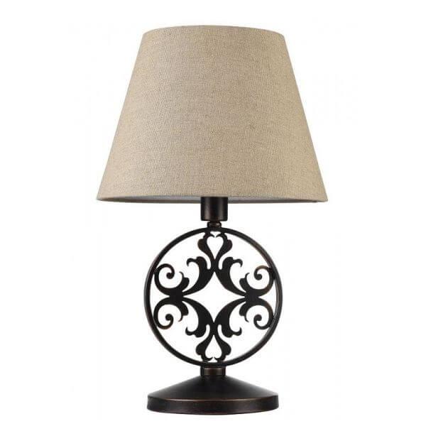 lampa stołowa z beżowym abażurem i brązową podstawą z metalu