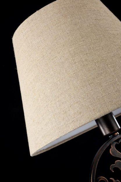 rustykalna lampa stołowa ciemny brąz z kremowym abażurem