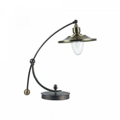 oryginalna lampa stołowa w stylu przemysłowym, złoto, czarna