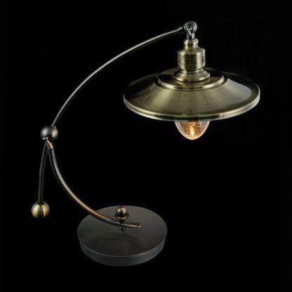 industrialna, loftowa lampa stołowa kolor przybrudzonego złota
