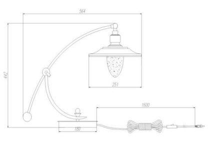 oryginalna lampa stołowa z metalowo-szklanym kloszem