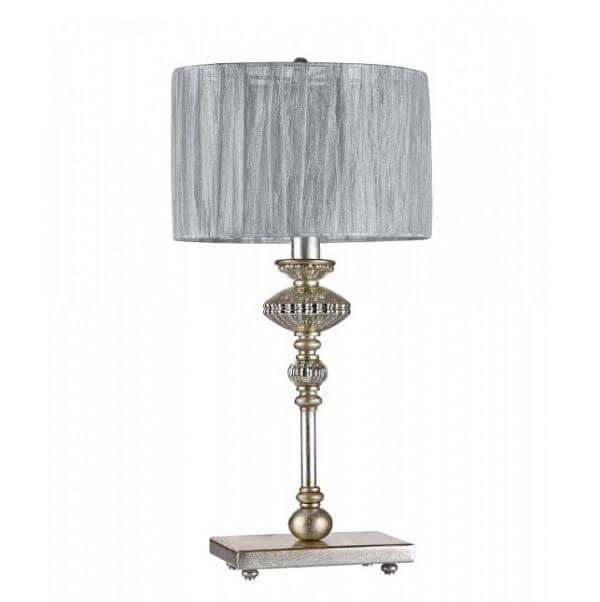 lampa stołowa z klasycznie zdobioną podstawą i szarym abażurem