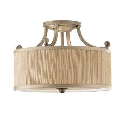 klasyczna lampa sufitowa z beżowym abażurem