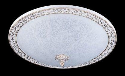 biało-złoty klasyczny plafon z mlecznego szkła