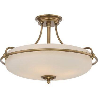 lampa sufitowa z mlecznym kloszem i złotymi zdobieniami