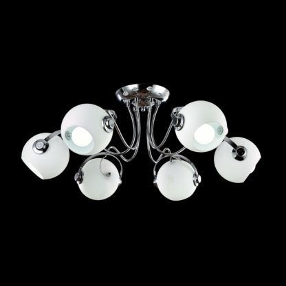 industrialna lampa sufitowa, białe klosze, srebrna