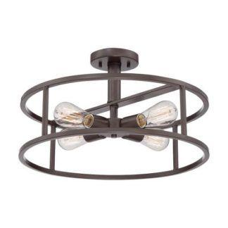 Industrialna lampa sufitowa New Harbor - Ardant Decor - okrągła, brązowa