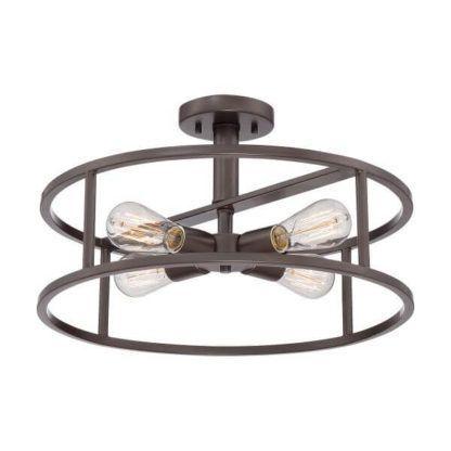 industrialna lampa sufitowa, brązowa, okrągła