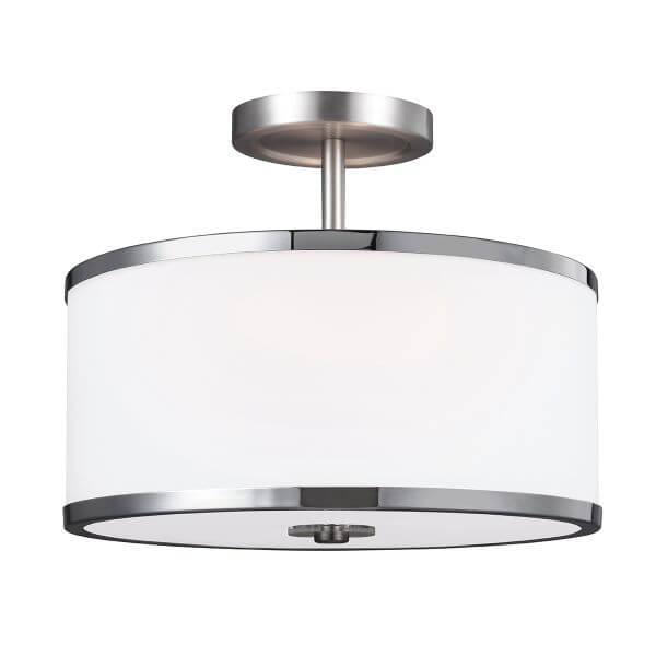 lampa sufitowa lub wisząca 2w1 biały klosz ze szkła w srebrnej oprawie, elegancka i nowoczesna
