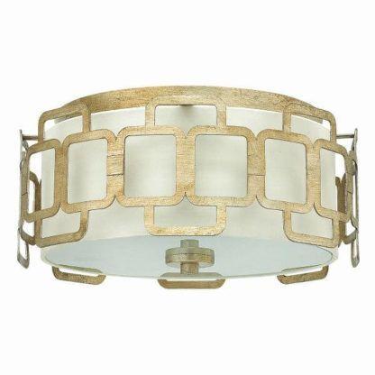 okrągły, biało-złoty plafon w pałacowym stylu