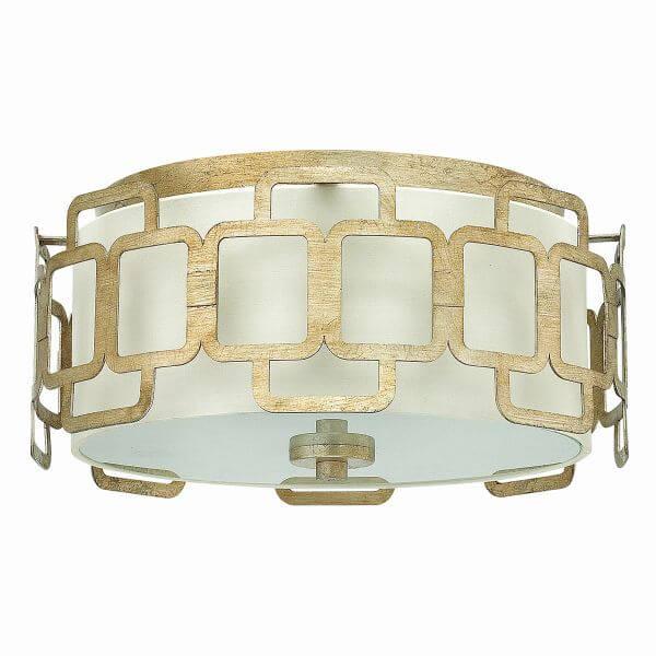 klasyczny plafon okrągły z metalowymi dekoracjami
