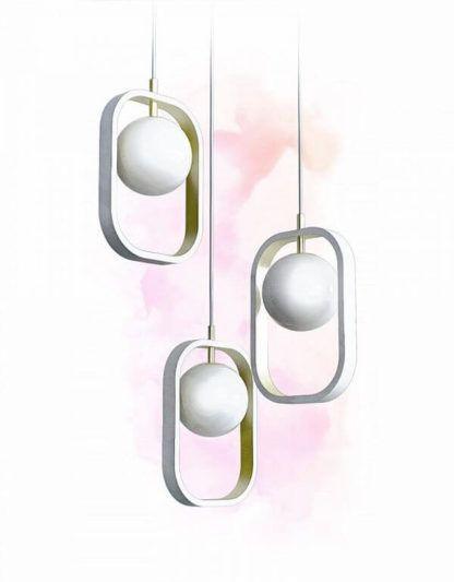nowoczesna lampa wisząca, biała, złota, minimalistyczny design, modern