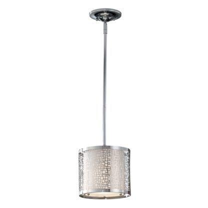 lampa wisząca z ażurowym kloszem ze srebrnego metalu