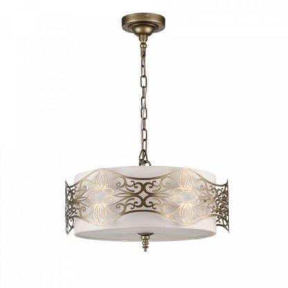 złota lampa wisząca z białym abażurem i złotym wzorem metalowym, styl klasyczny elegancki