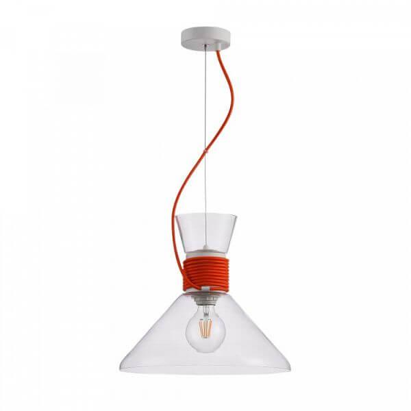 szklana, transparentna lampa wisząca z czerwonym zawieszeniem