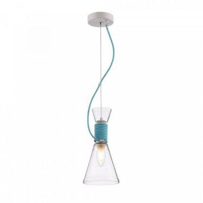skandynawska lampa wisząca z bezbarwnego szkła, błękitny kabel
