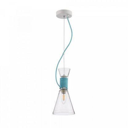 szklana lampa wisząca, bezbarwna, z niebieskim przewodem