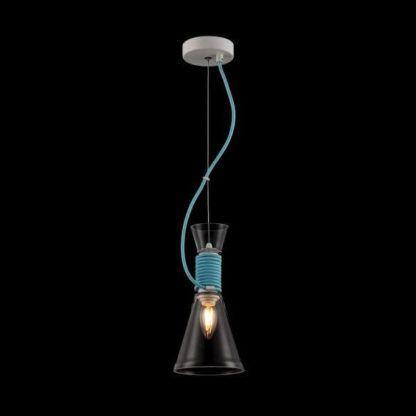 nowoczesna lampa wisząca ze szkła, dekoracyjny, błękitny kabel