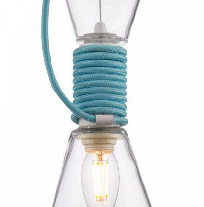 szklana lampa wisząca, bezbarwna z niebieskim przewodem