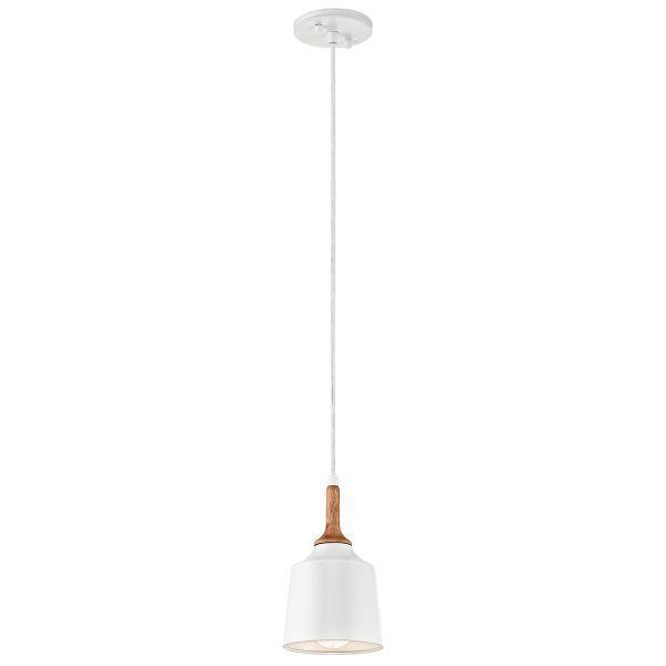 skandynawska lampa wisząca, biała z drewnianymi detalami - aranżacja salon, gabinet