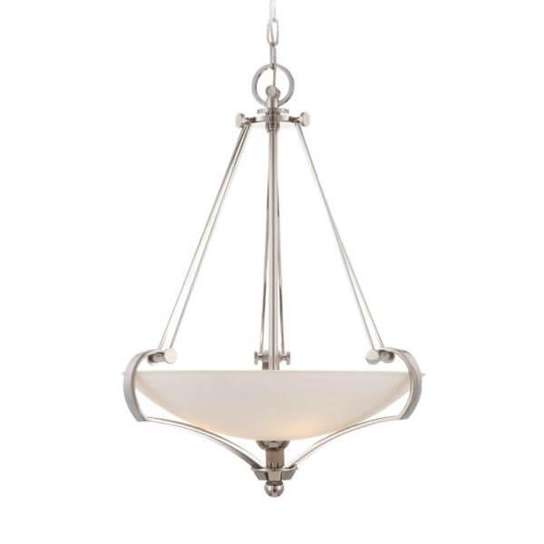 klasyczna lampa wisząca z mlecznym kloszem skierowanym w górę, srebrna obudowa, bardzo elegancka