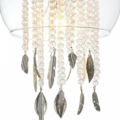 lampa wisząca, jak biżuteria, ozdobne kryształy i listki , szklana