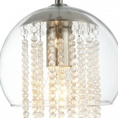 szklana lampa wisząca w stylu eko, dekoracyjne kryształki, listki