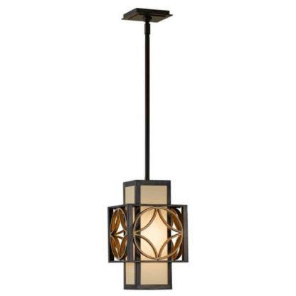 pionowa lampa wisząca w stylu retro, art deco, ciepły brąz