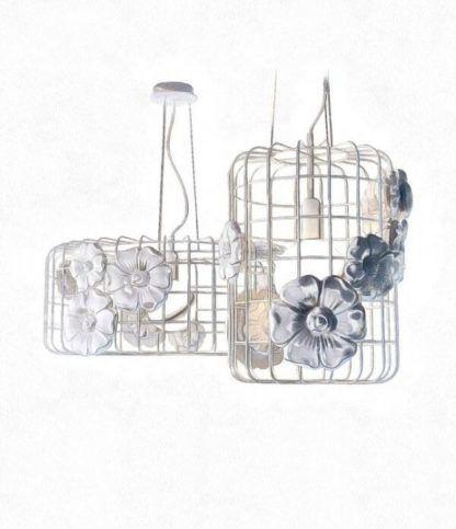 ażurowa lampa wisząca, cała biała, ozdobiona kwiatami, styl nowoczesny