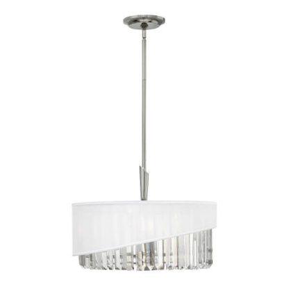 okrągła, kryształowa lampa wisząca połączona z białym abażurem