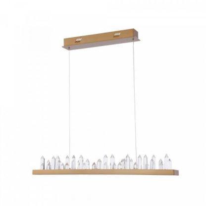 nowoczesna lampa wisząca nad stół, pozioma belka ozdobiona kryształowymi stalagmitami