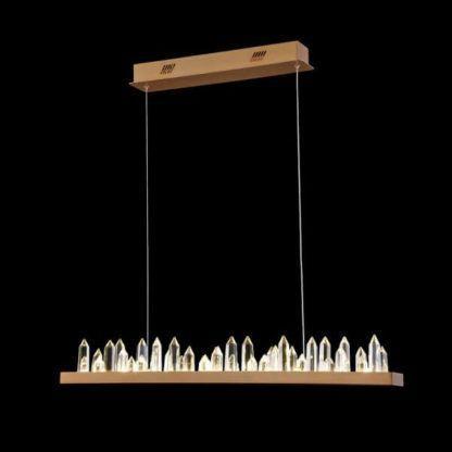 lampa wisząca na stół, kryształki w kształcie stalagmitów