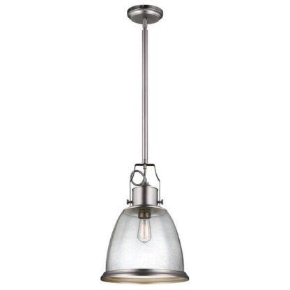 szklana lampa wisząca z bezbarwnym kloszem, industrialna