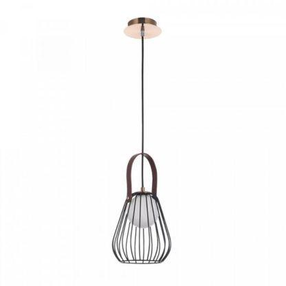 ażurowa, czarna lampa wisząca z drutów