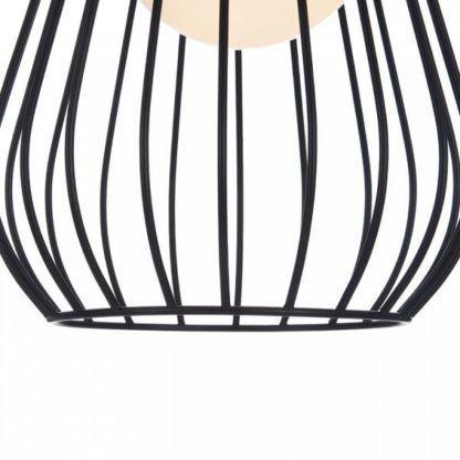 lampa wisząca z czarnych, metalowych prętów