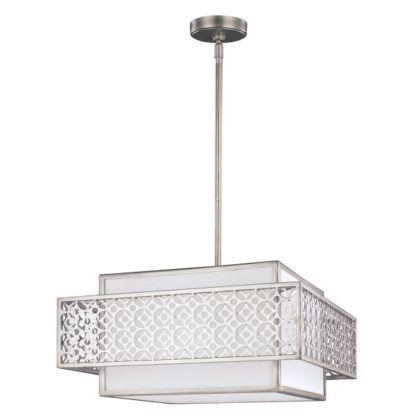 geometryczna lampa wisząca z białym abażurem i srebrną, ażurową oprawą z metalu
