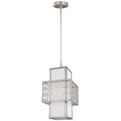 prostokątna lampa wisząca z białym abażurem i metalową, dekoracyjną oprawą