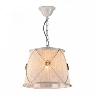 Klasyczna lampa wisząca Lea - Maytoni - kremowy abażur