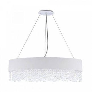 Duża lampa wisząca Manfred 9 - Maytoni - biały abażur, kryształki