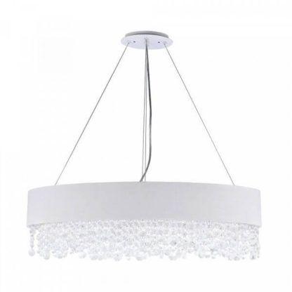 elegancka, jasna lampa wisząca z abażurem ozdobionym kryształkami