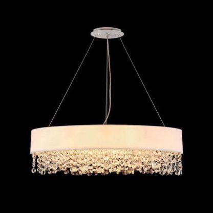 duża, okrągła lampa wisząca, biały abażur i zwisające kryształki