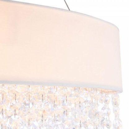 lampa wisząca biała z kryształkami, elegancka i nowoczesna