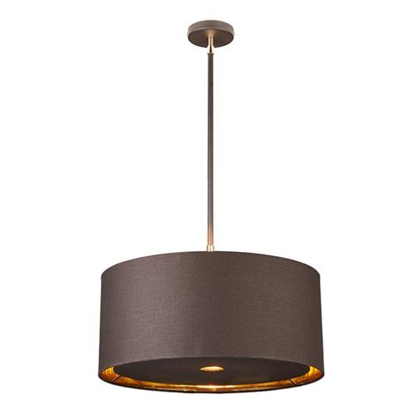 mała lampa wisząca z brązowym abażurem