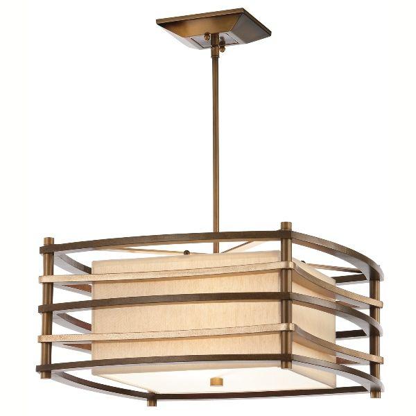 kwadratowa lampa wisząca z jasnym abażurem w drewnianych listewkach